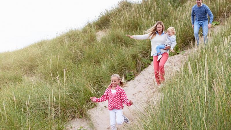 dunes, sable, hebre, promener, promeneur