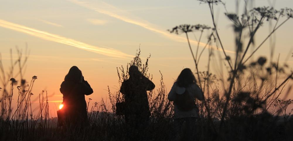 coucher de soleil, ombre, gens, promeneur, prairie