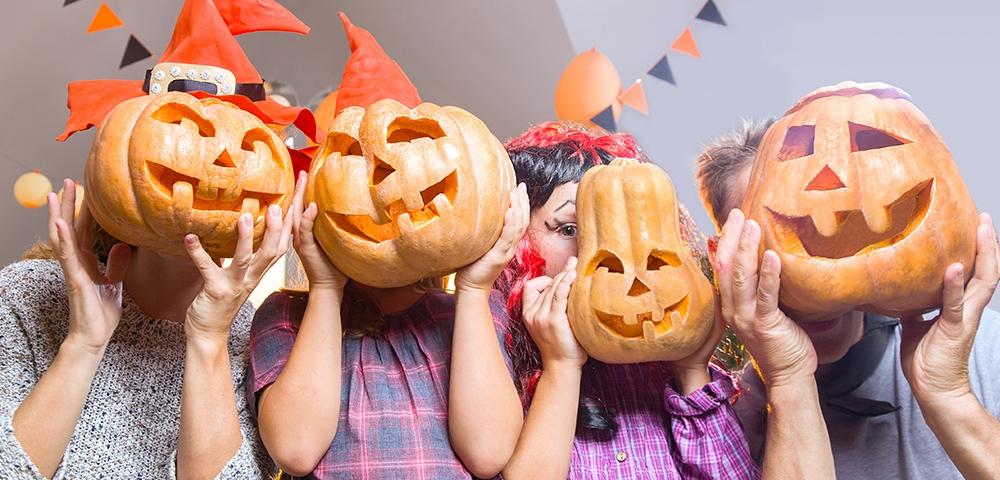 halloween, pompoen, familie