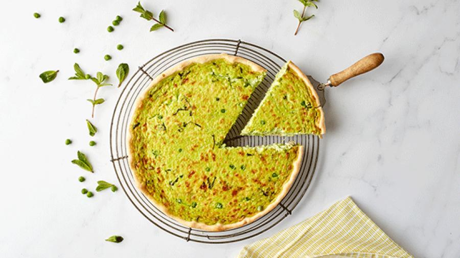 Quiche met erwtjes en pancetta