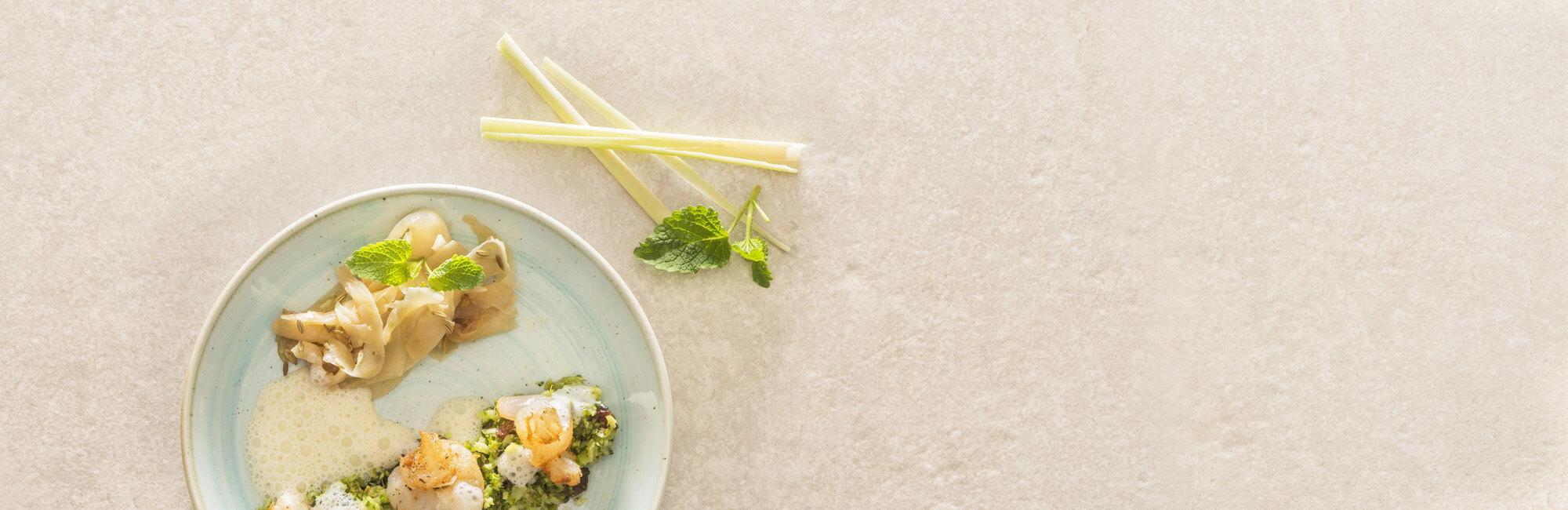scampis, brocoli, citronnelle, sauce