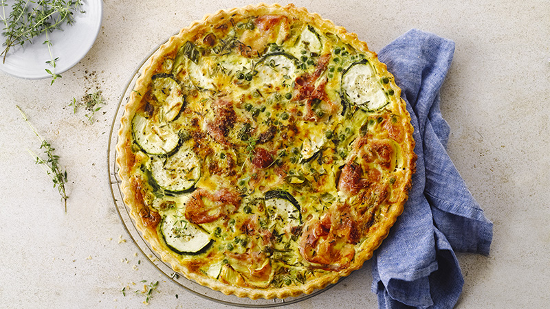 quiche, courgettes, jambon