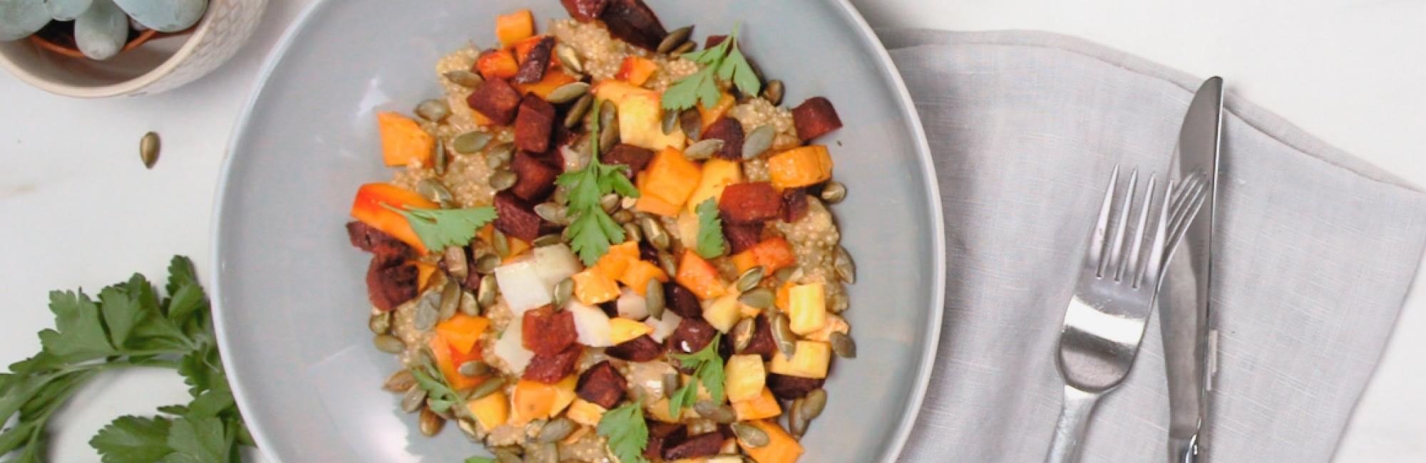 Quinoa, wintergroentjes, rode bieten, pompoen, rapen