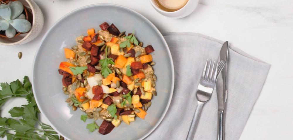 Quinoa, légumes d'hiver, betterave, navet, potimarron